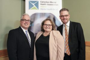 Pictured above, from left: CMHA Alberta ED, David Grauwiler; Alberta Minister of Health and Seniors, the Hon. Sarah Hoffman and CMHA Board Chair, Thomas Djurfors.